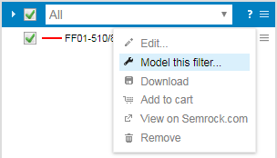 Model filters from legend