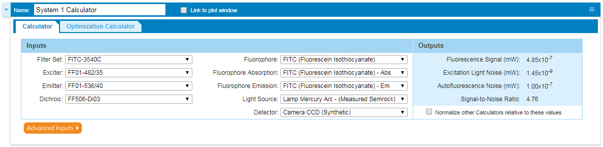 Fluoroescence Model Calculator